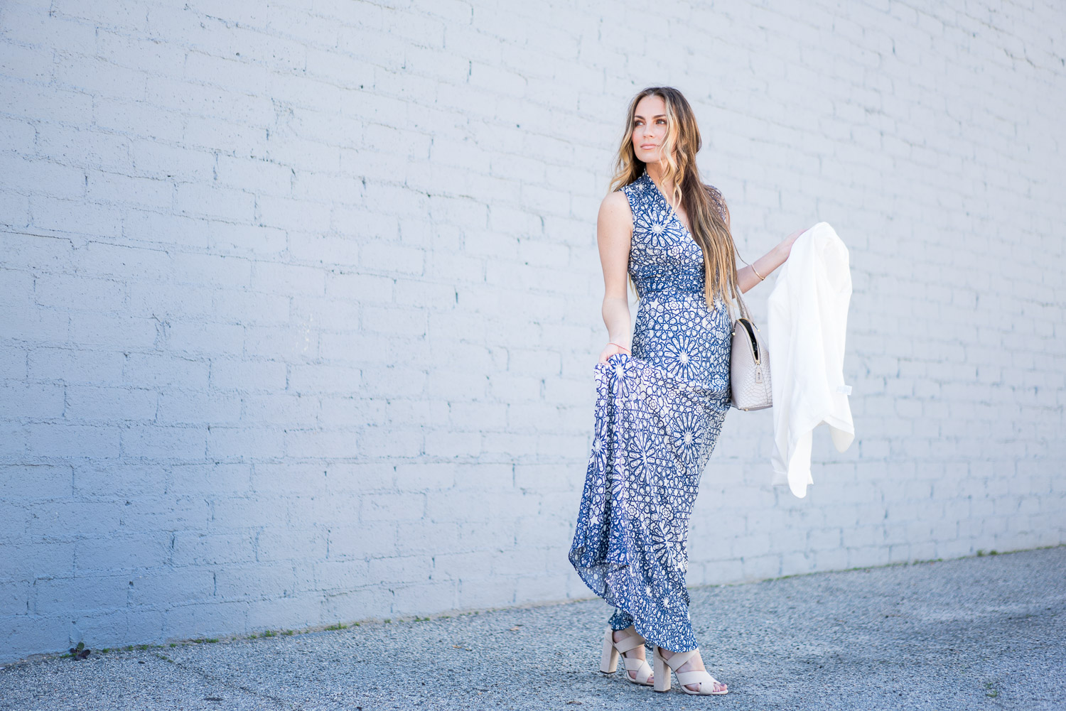 Forever 21 Maxi Dress, Nude Heels, White Blazer and Henri Bendel Handbag