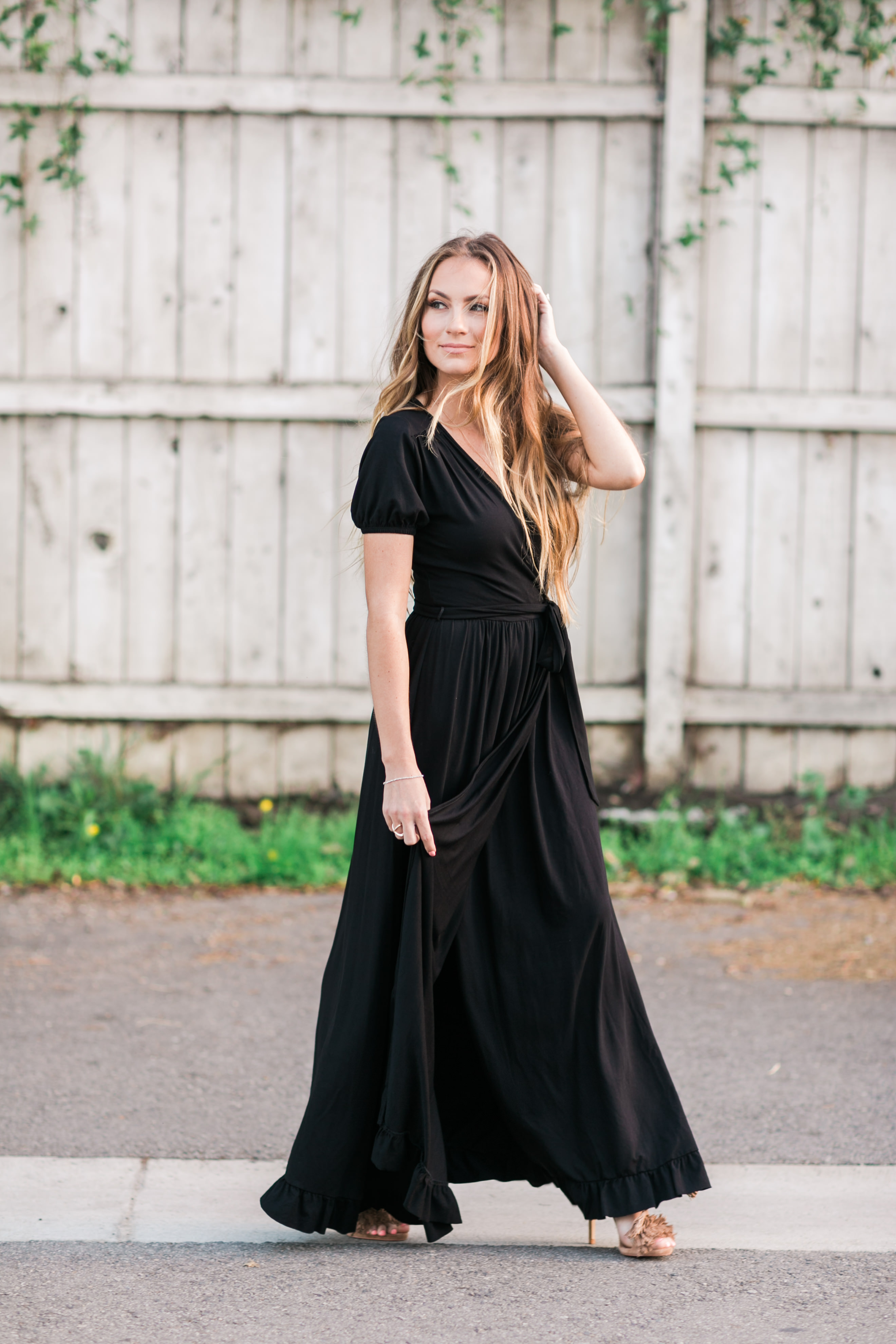 Asos wrap maxi dress and steve madden lace-up fringe sandals