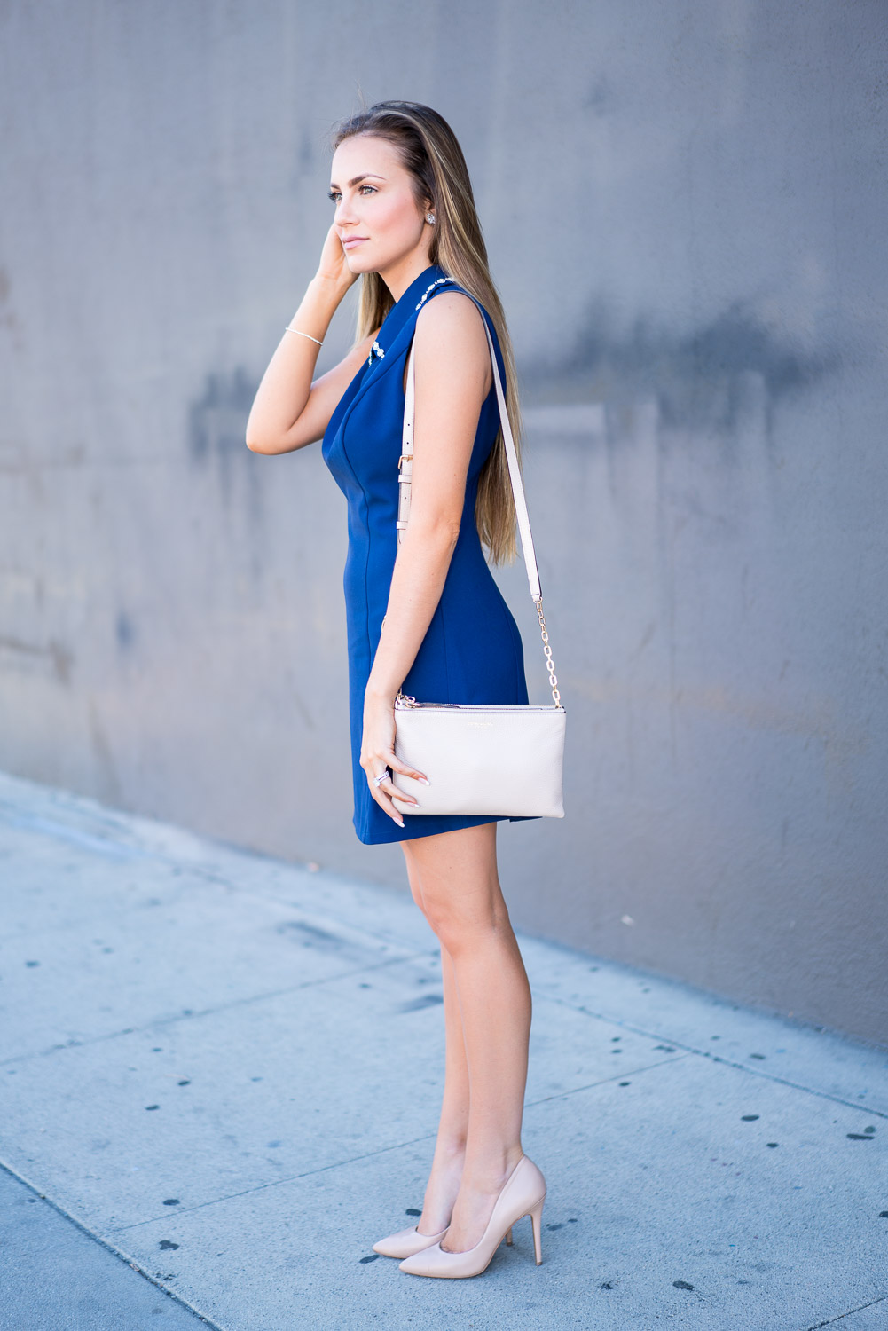 Blue Dress With Nude Heels - Is Heel
