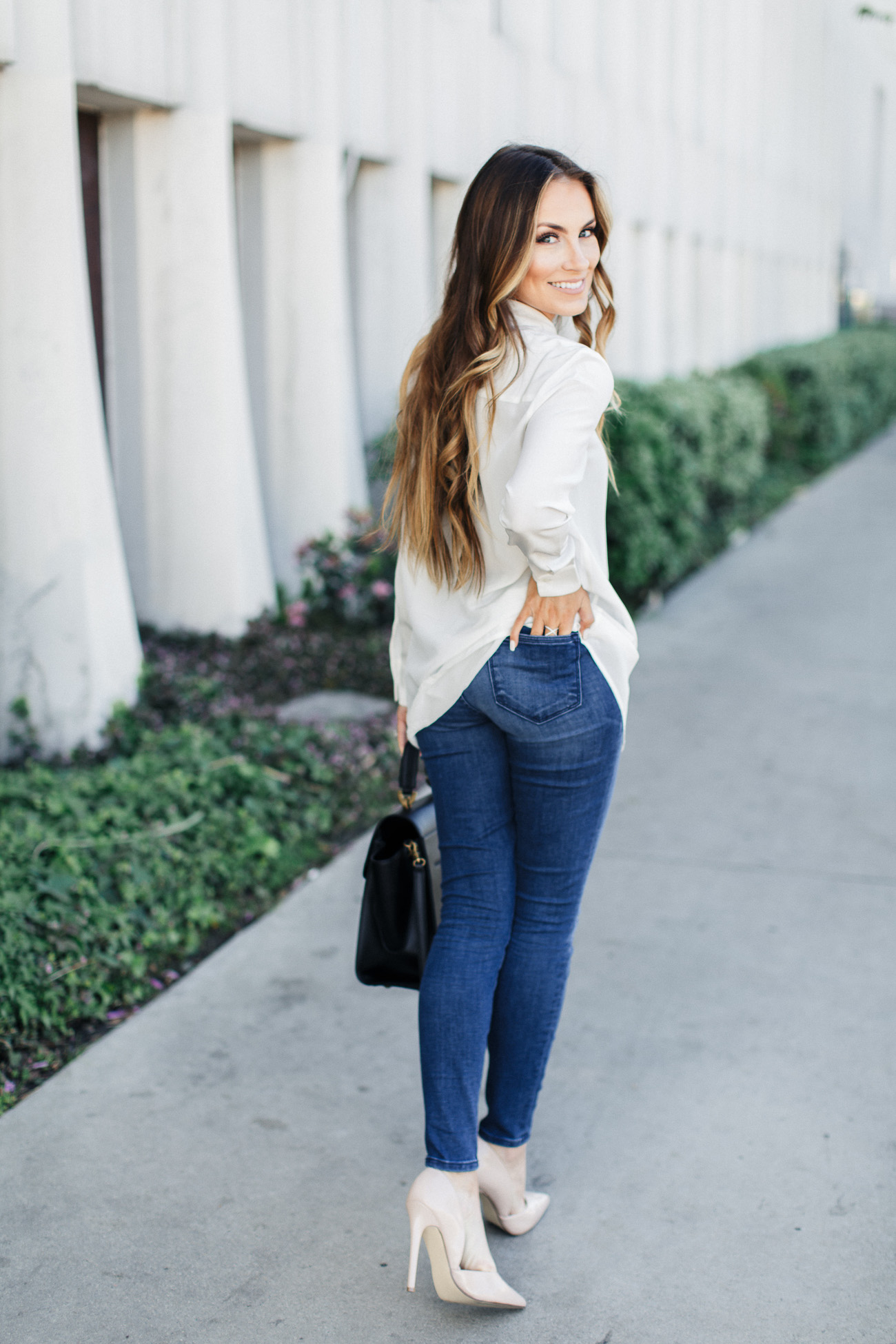 Closet Staple Pieces: white button-down, J. Crew jeans, Zac Posen bag, statement necklace and nude heels. Angela Lanter