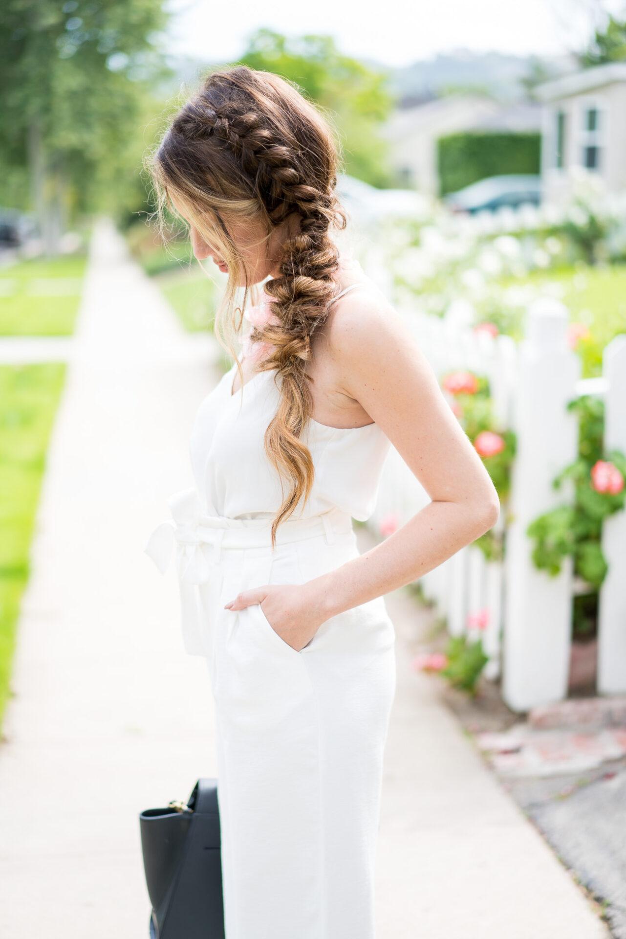 7 Wedding Do's & Dont's TopShop white tank top, chelsea28 wide legs white pants aritzia grey blazer