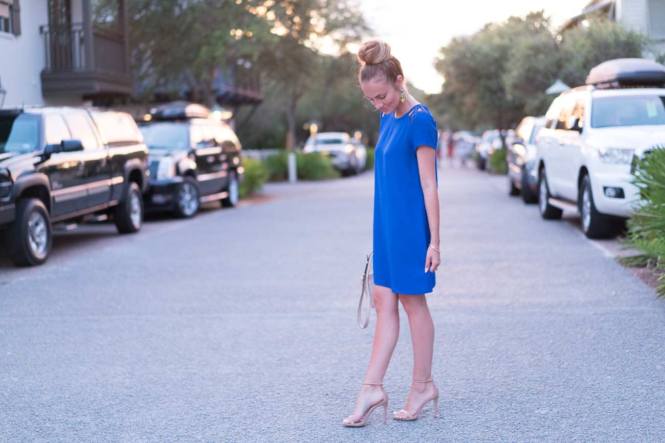 Cobalt blue nordstrom cut out dress angela lanter hello gorgeous rosemary beach florida 30A