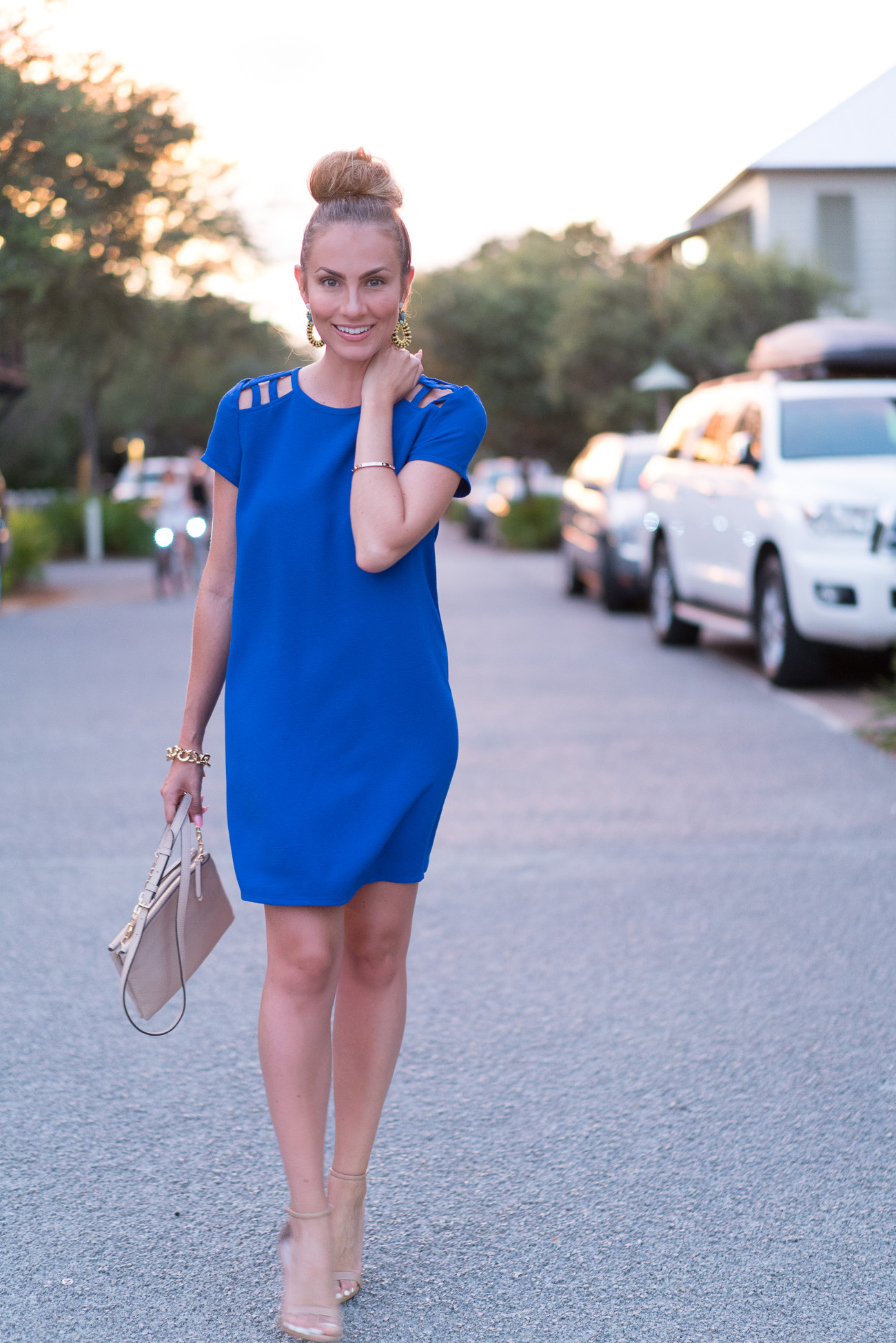 Cobalt blue nordstrom cut out dress angela lanter hello gorgeous rosemary beach florida 30A