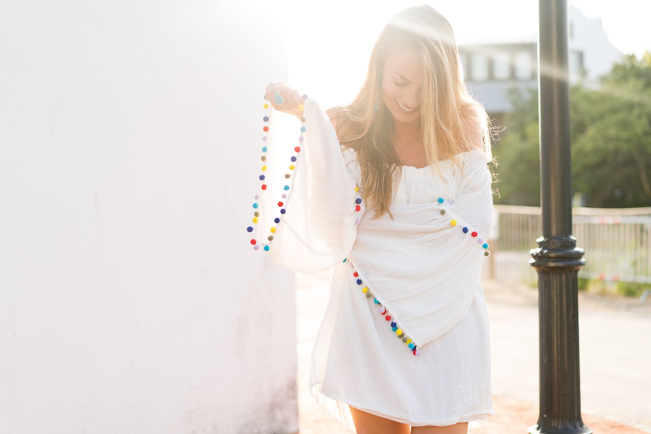 SheIn white beach dress pom pom trim angela lanter hello gorgeous