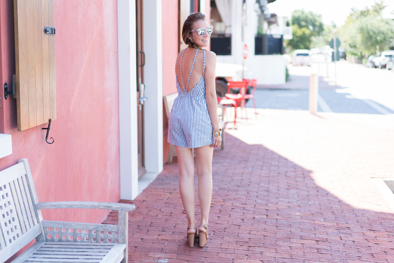 SheIn $15 striped romper Rosemary Beach, FL angela lanter hello gorgeous