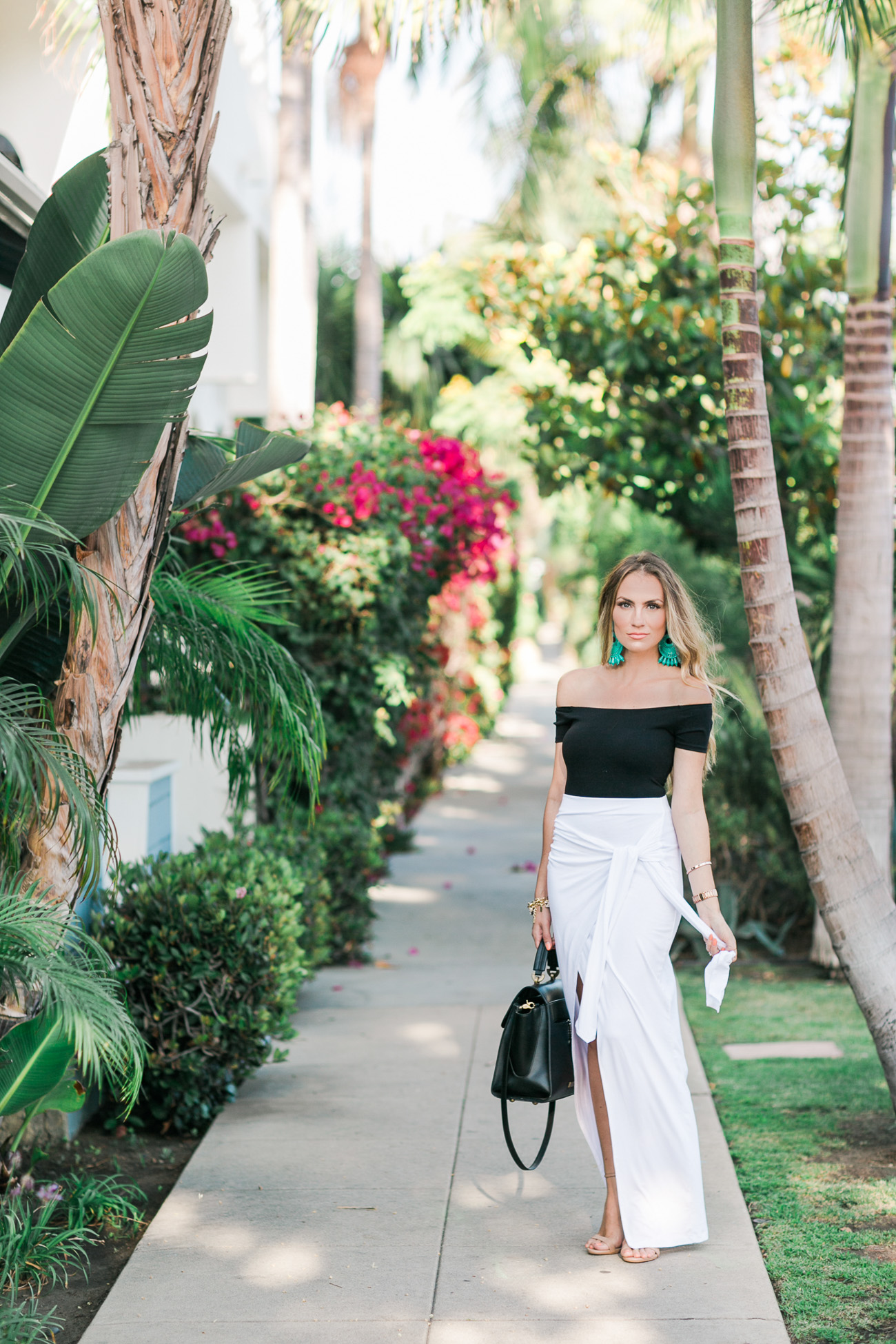black off the shoulder top ASOS white wrap skirt angela lanter hello gorgeous