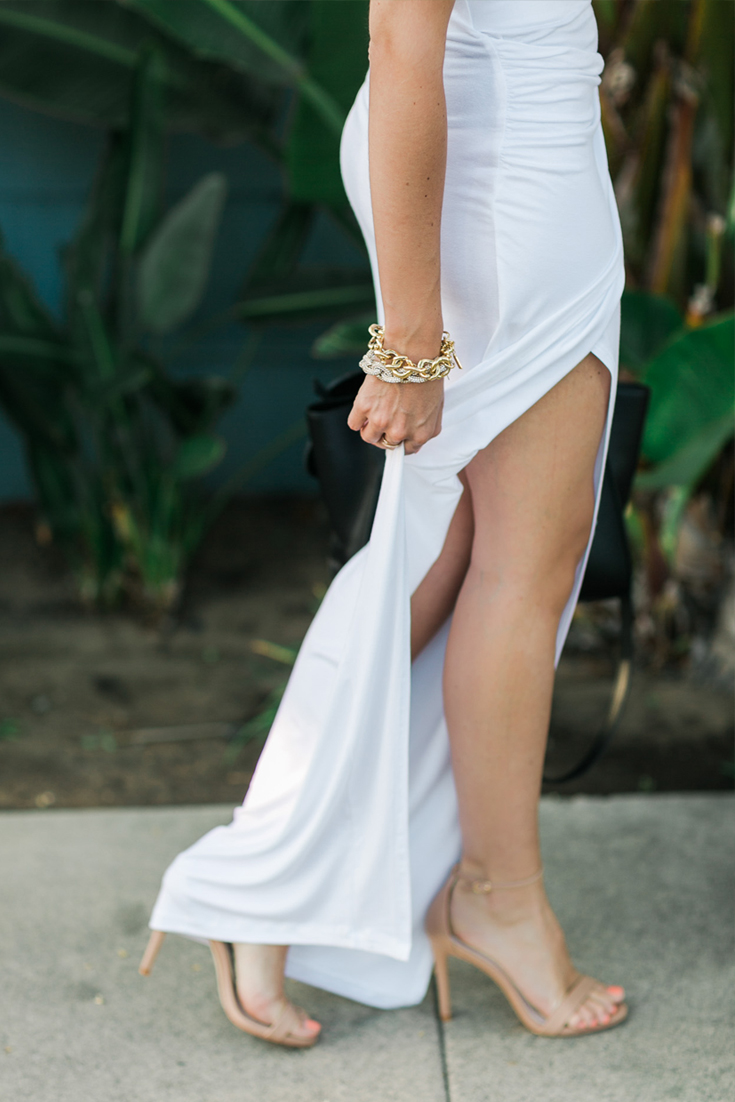 Off-the-Shoulder Bodysuit - Knotted White Maxi Skirt - Strappy Nude Sandals - Bead Hoop Earrings - Pave Link Bracelet -  Gold Link Bracelet -  Crystal Hinge Bracelet - Accent Ring