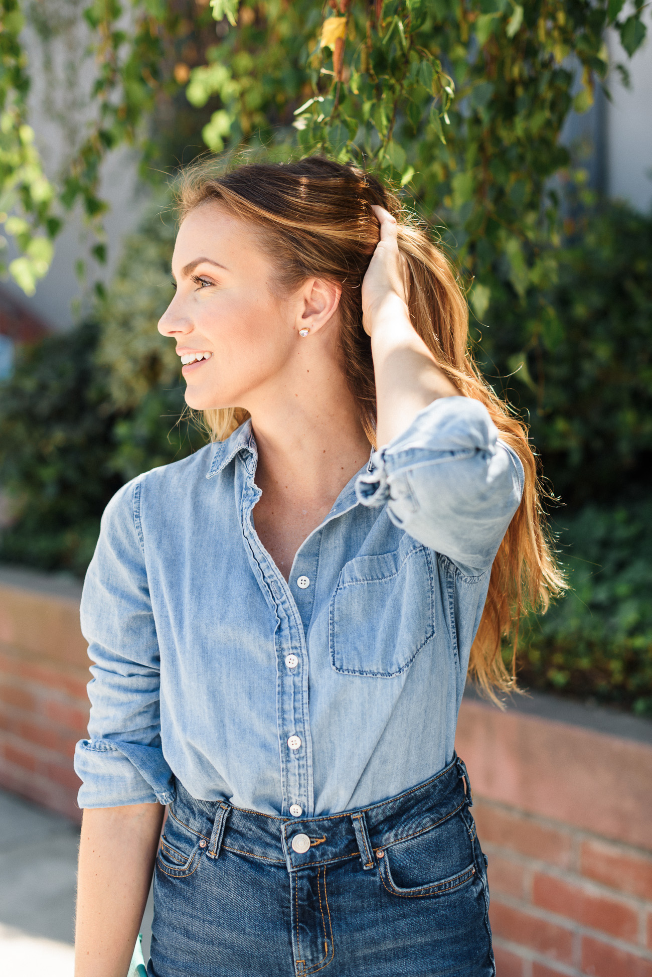 chambray J. Crew button up and denim Zara midi skirt denim-on-denim fall outfit angela lanter hello Gorgeous