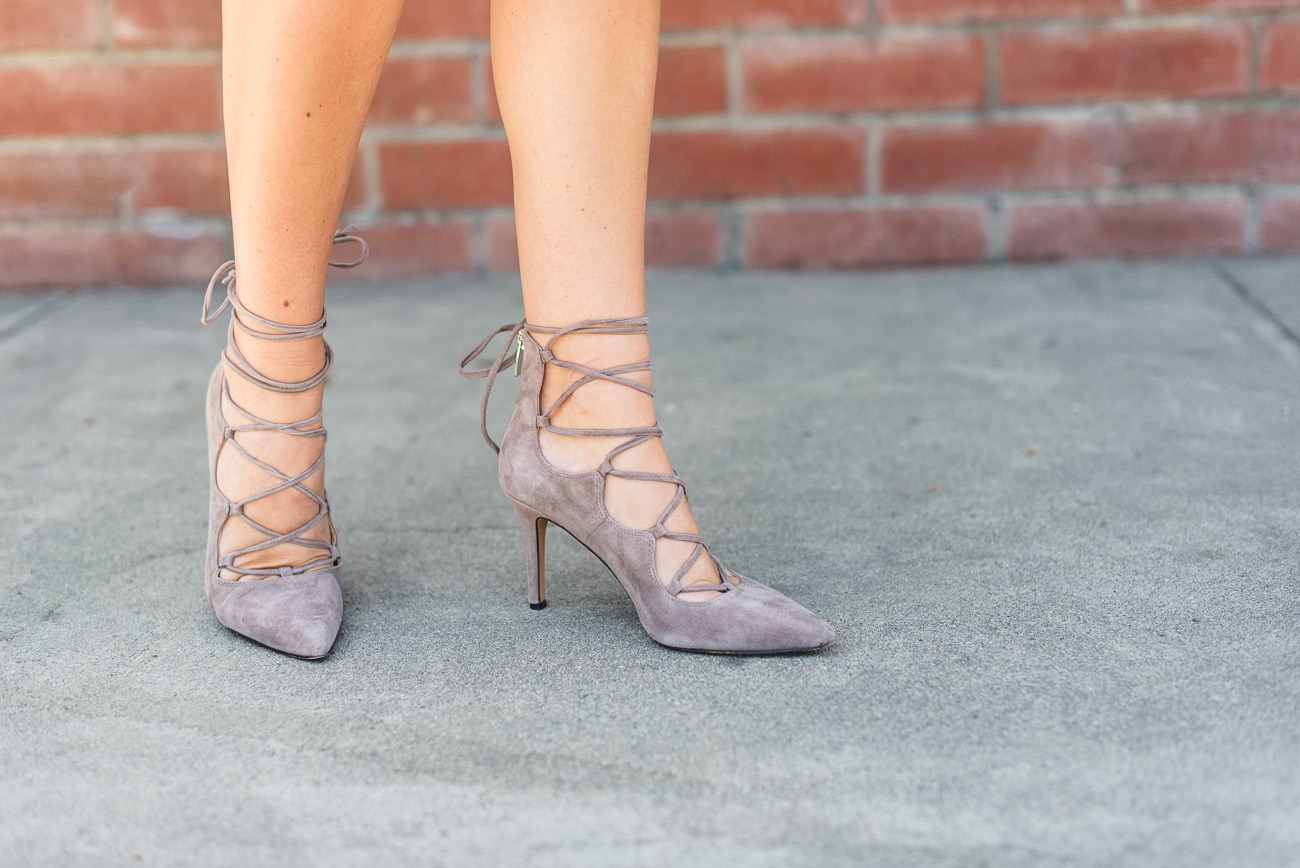 Vince Camuto tan lace-up heels angela lanter hello gorgeous nordstrom