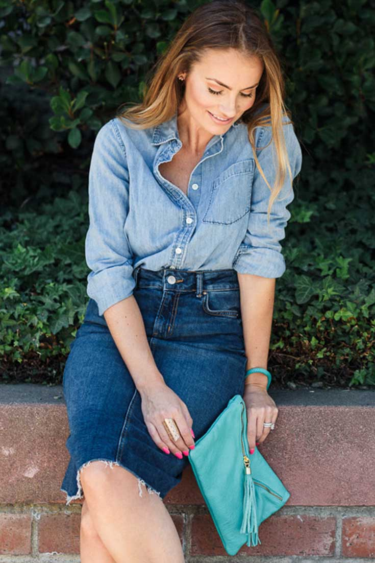 Denim on Demin look - aquamarine clutch -  Angela Lanter - Hello Gorgeous