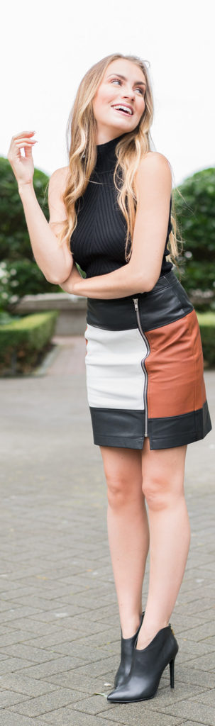 Fall Petit Style - Leather skirt, love it! simple Black top. Angela Lanter - Hello Gorgeous