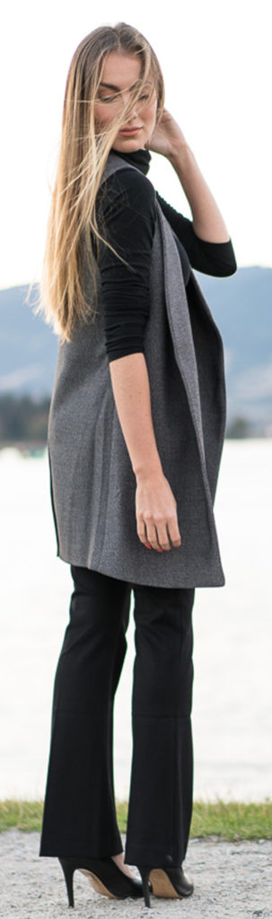 Fall Petit Style - Black total look with a simple gray vest. Angela Lanter - Hello Gorgeous