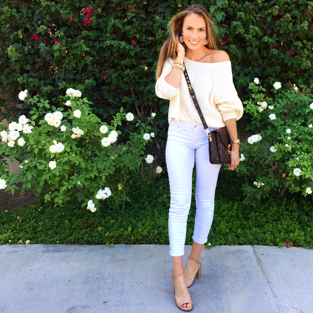 cream off the shoulder sweater hudson white jeans nordstrom sale angela Lanter hello gorgeous ootd