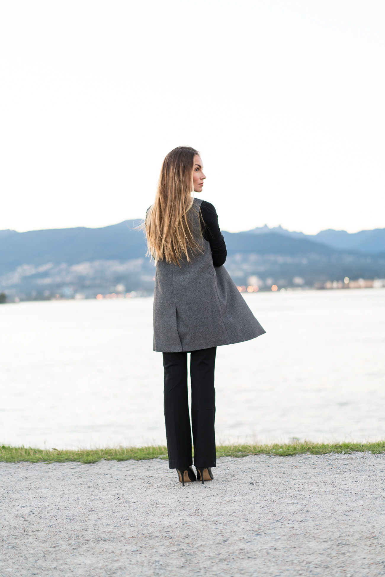 Macy's petite black dress pants black turtleneck grey vest black high heels fall business outfit angela lanter hello gorgeous