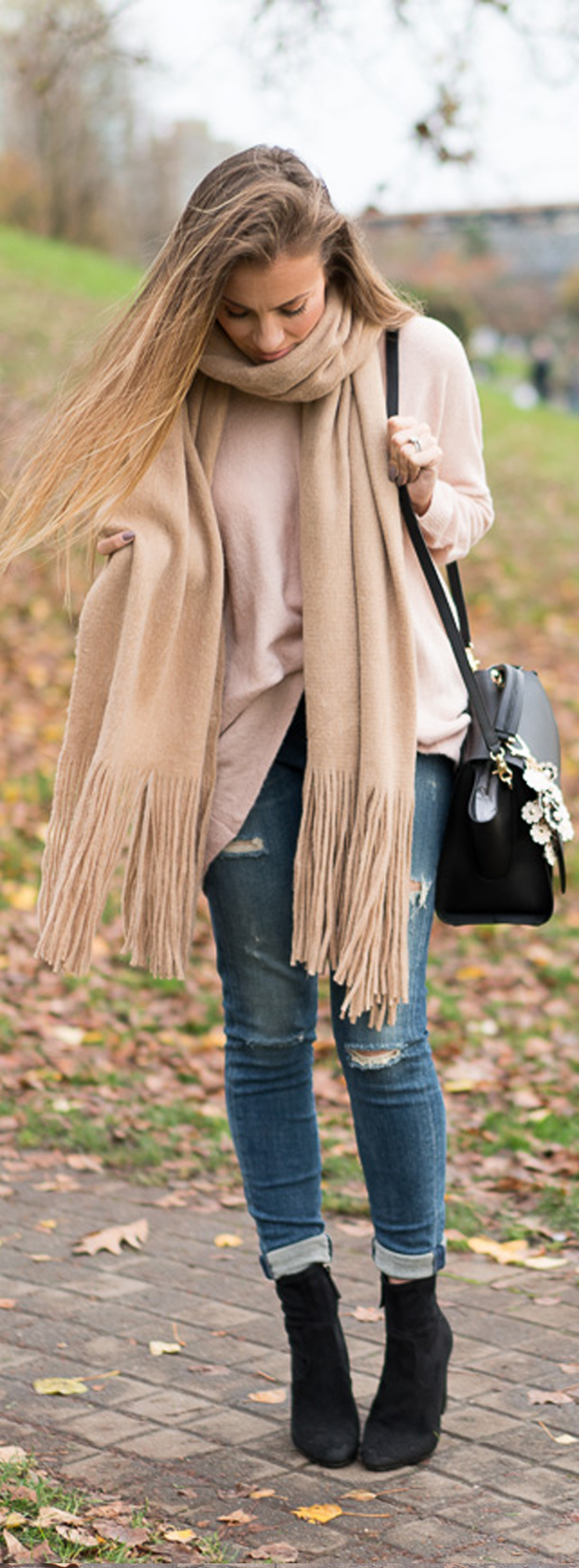 Fall Outfit: Blush Sweater - Legging Ankle Jeans - Scarf - Booties - Zac Zac Posen Handbag - Spring Earthette Floral Charm. Angela Lanter - Hello Gorgeous.