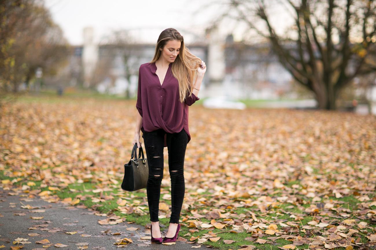 Nordstrom fall outfit lush burgundy twist front button up blouse black distressed frame denim skinny jeans sam edelman burgundy velvet heels angela lanter hello gorgeous