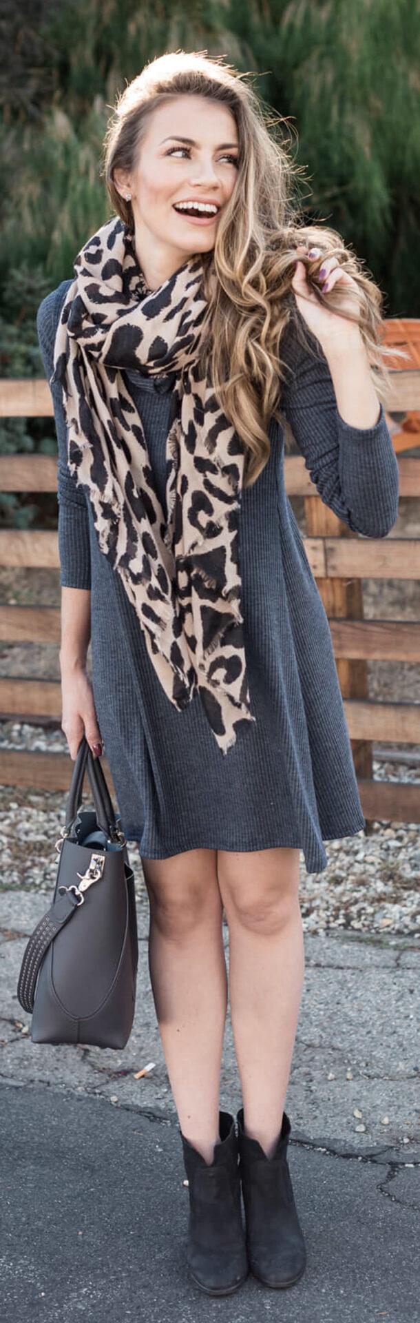 Angela Lanter Rib Knit Cowl Shift Dress - Leopard Print Scarf - Similar Black Booties - Zac Zac Posen Handbag