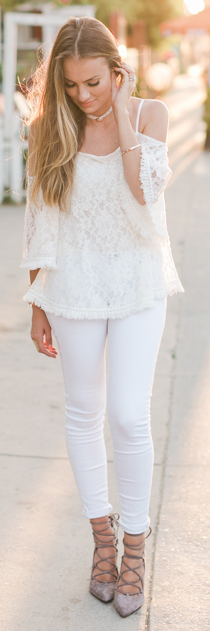 Angela Lanter - Hello Gorgeous Outfit: Cold Shoulder Top, Skinny Jeans, Heels, Necklace, Ring and Bracelet.