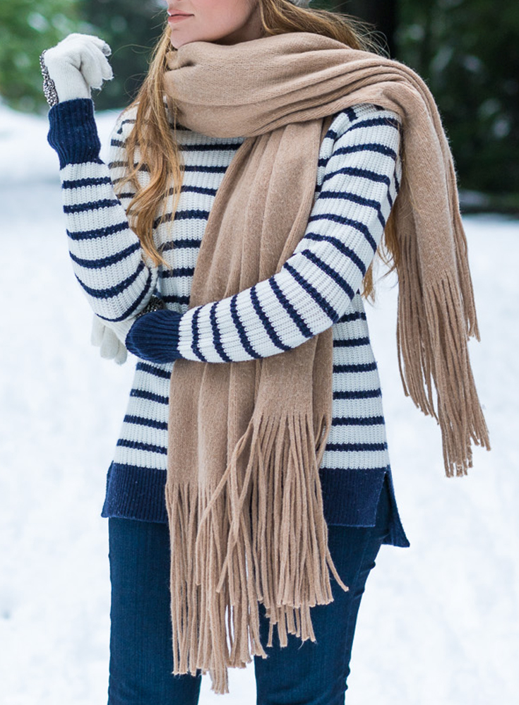Stripe Turtleneck Sweater, Hudson High Waist Skinny Jeans, The North Face Coat, Beanie, Fringe Scarf, uggs. Angela Lanter from Hello Gorgeous, outfits.