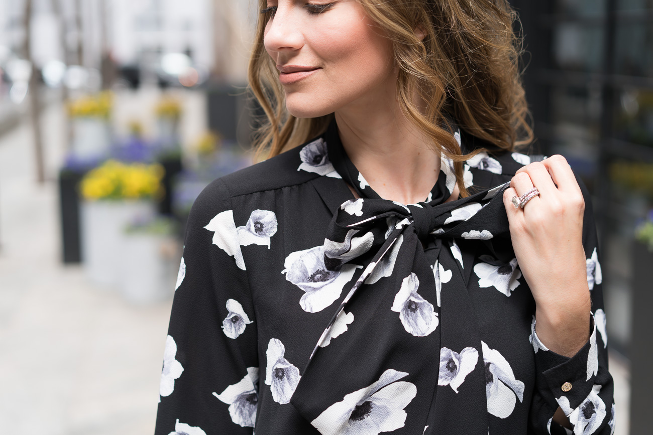 Macy's CeCe Floral Tie-Neck Dress Angela Lanter Hello Gorgeous