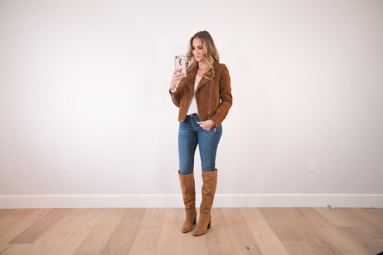 Nordstrom Anniversary Sale Angela Lanter Hello Gorgeous BLANKNYC Suede jacket OTK boots