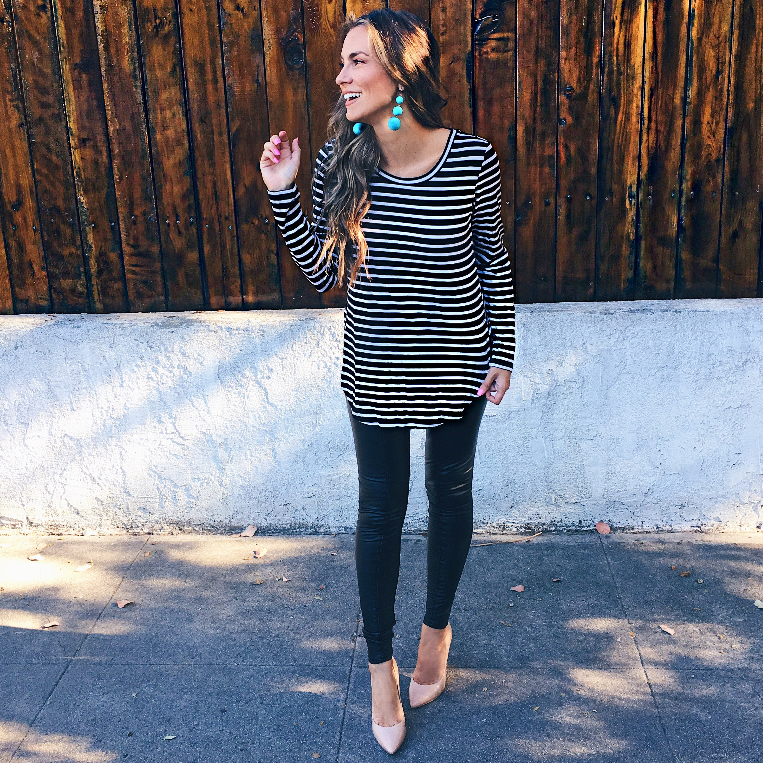 striped tee shirt Lysse faux leather leggings outfit nordstrom anniversary sale angela lanter hello gorgeous