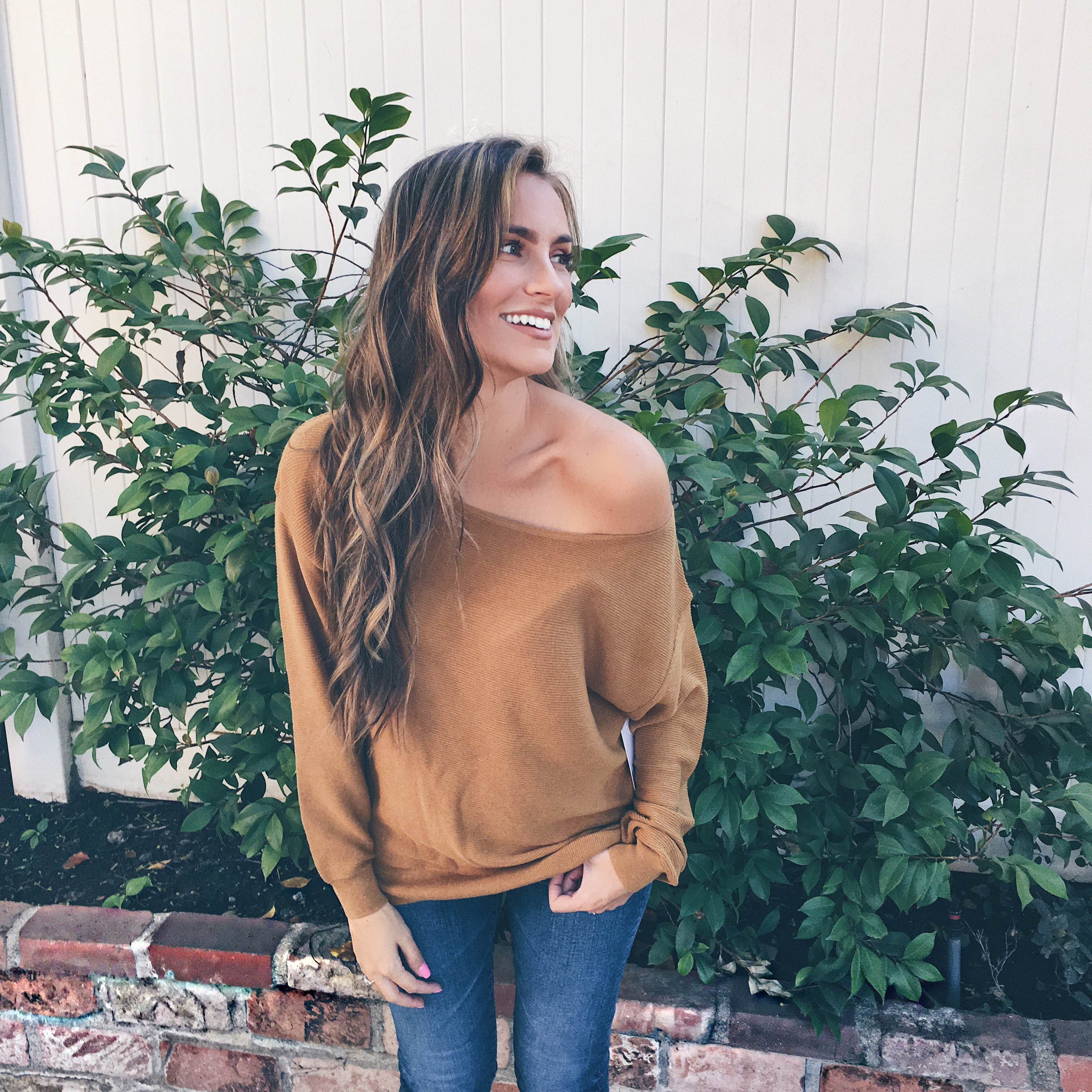 Off the shoulder sweater and jeans outfit nordstrom anniversary sale angela lanter hello gorgeous
