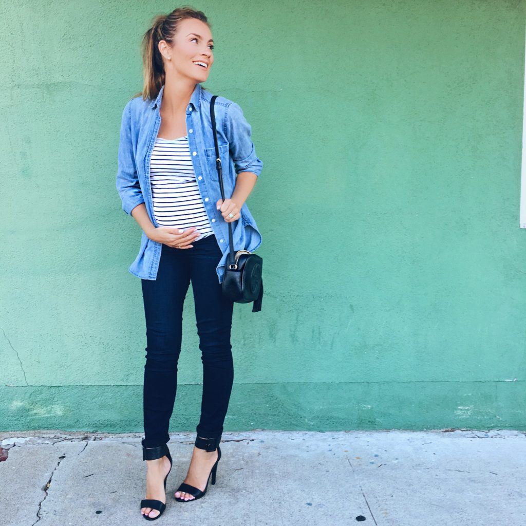 Angela Lanter maternity casual outfit pregnancy 18 weeks pregnant hello gorgeous