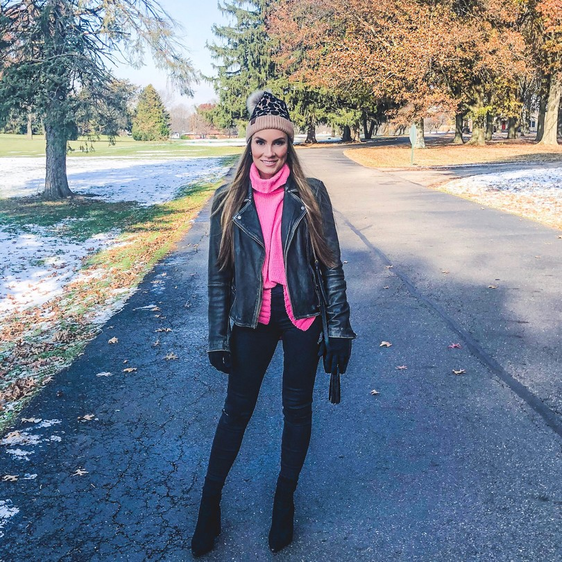 angela lanter hello gorgeous fall winter style hot pink sweater leather allsaint leatehr coat leopard beanie skinny jeans ootd casual outerwear for cold weather