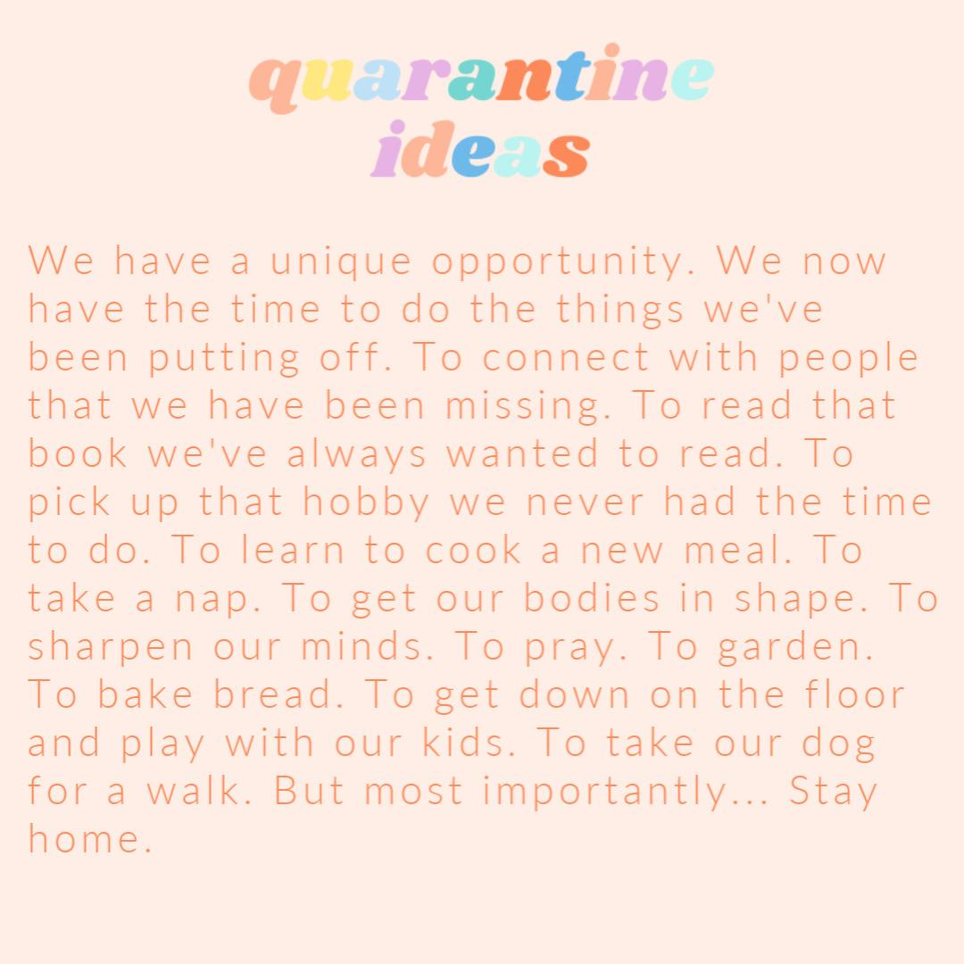 GTT: Real Life Quarantine Ideas